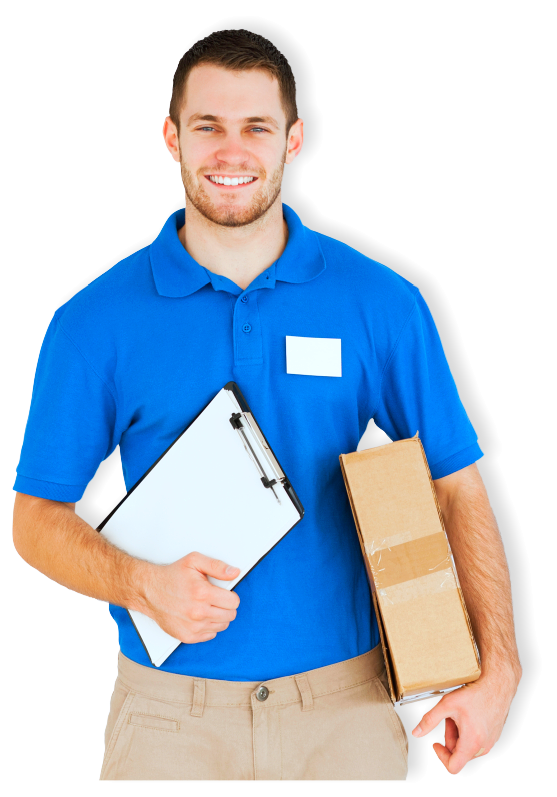 man holding a box and a pad